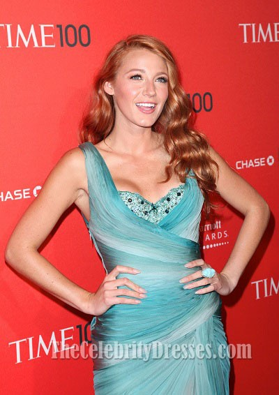 Blake Lively Prom Dress Evening Gown Times 100 Gala Red Carpet ...