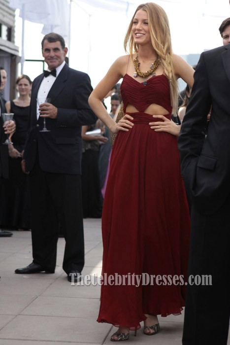 a75f9d68e Blake Lively Burgundy Cut Out Prom Evening Dress Gossip Girl Fashion