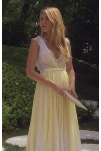 73ced3240 Blake Lively Yellow Chiffon Lace Prom Dress Gossip Girl Season 6 Fashion ·  alt
