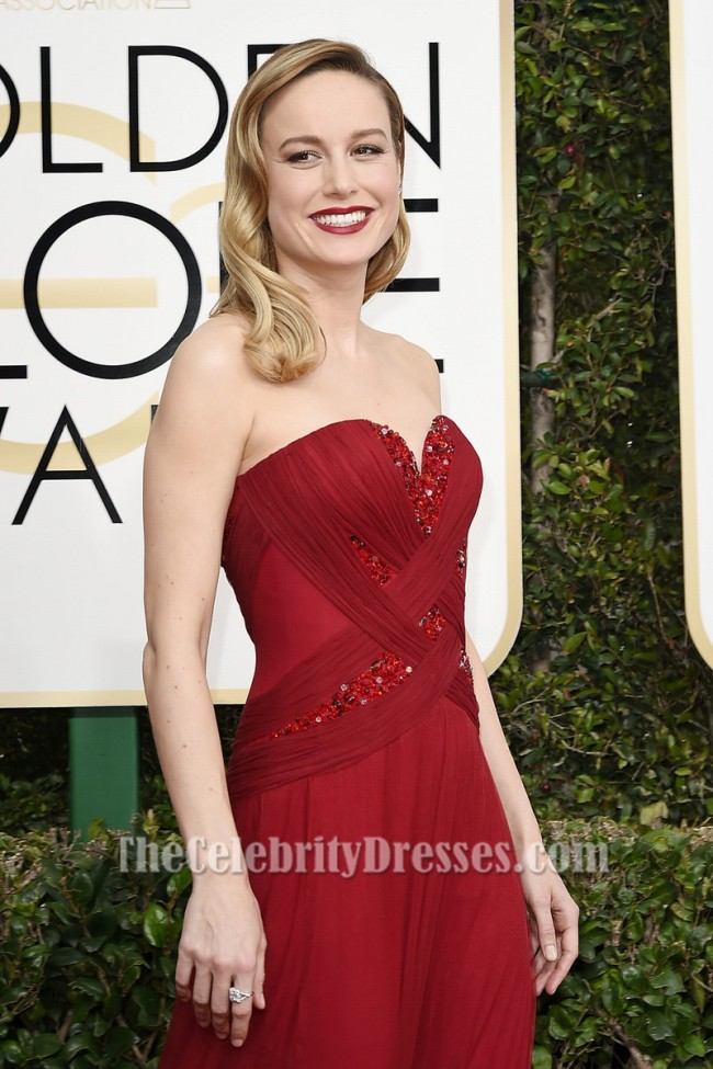Brie Larson Red Beaded Evening Gown 74th Annual Golden
