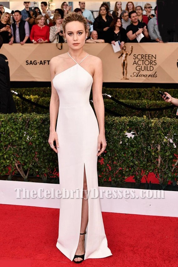 Brie Larson Ivory Spaghetti Straps Backless Evening Prom Gown 2017