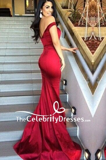b49b957f58 Burgundy Mermaid Off-the-shoulder Prom Dress For Sale ...