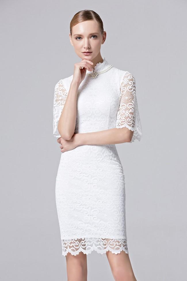 9627bd4e3 Women Girls Beauty Party Dress White Pink Half Sleeves Short Mini ...