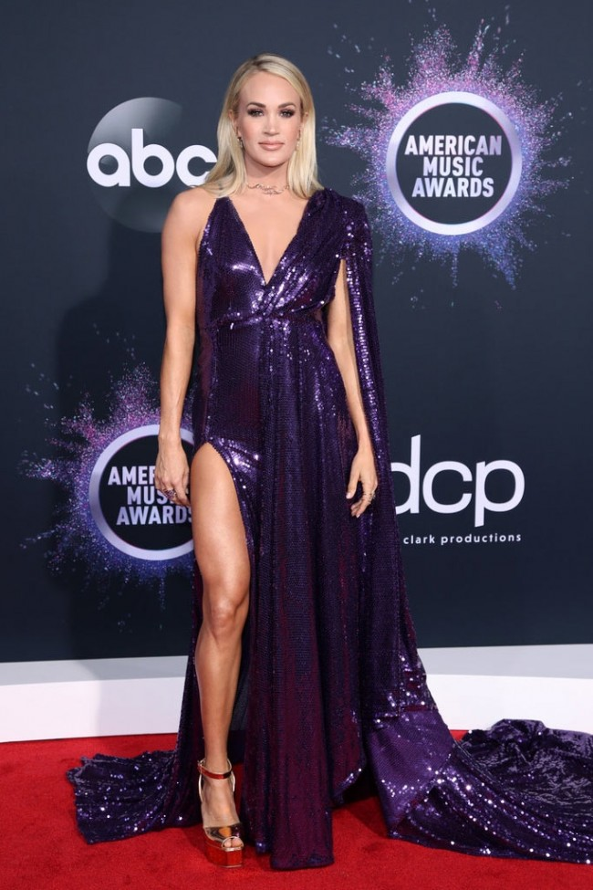 Carrie Underwood Purple V Neck Sequin High Split Prom