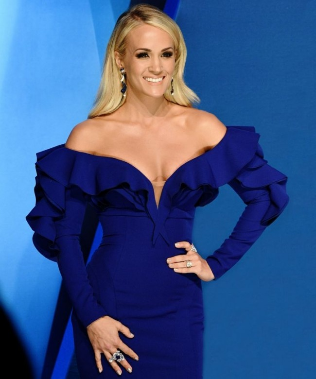 Carrie Underwood Royal Blue Mermaid Evening Gown With Long