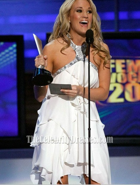 Carrie Underwood Gorgeous Halter White Chiffon Short