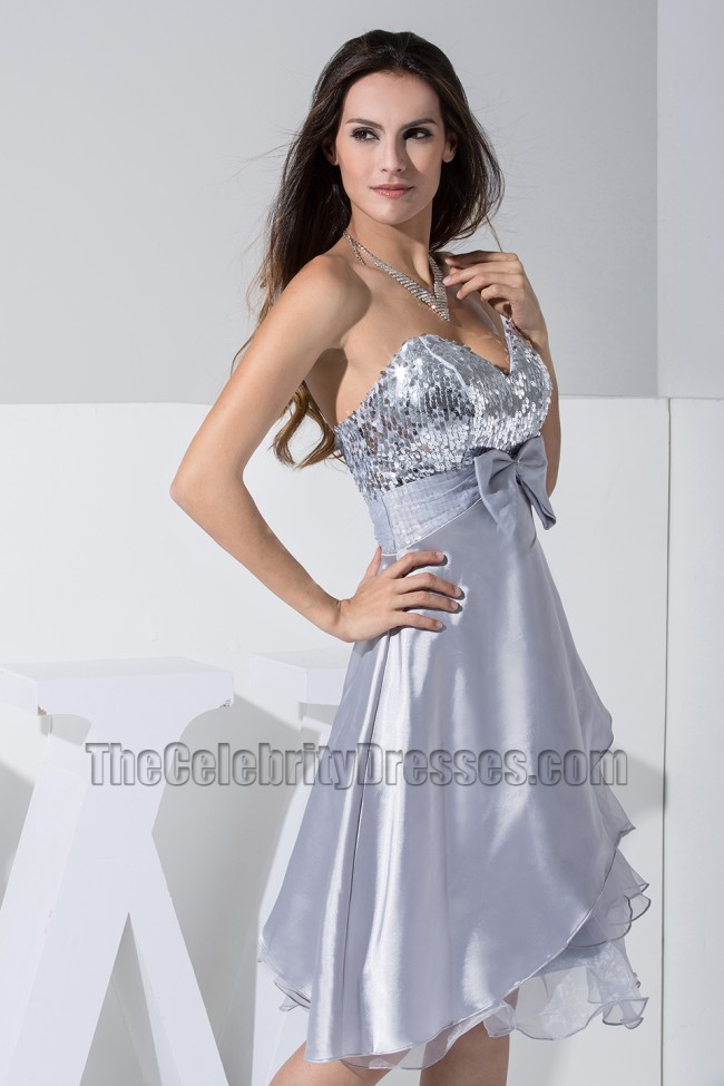 Celeb New Style Short A Line Silver Party Dress Homecoming