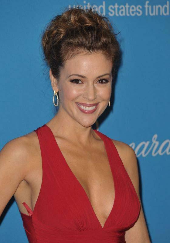 Celebrity Dresses Alyssa Milano Red Chiffon Prom Gown Formal