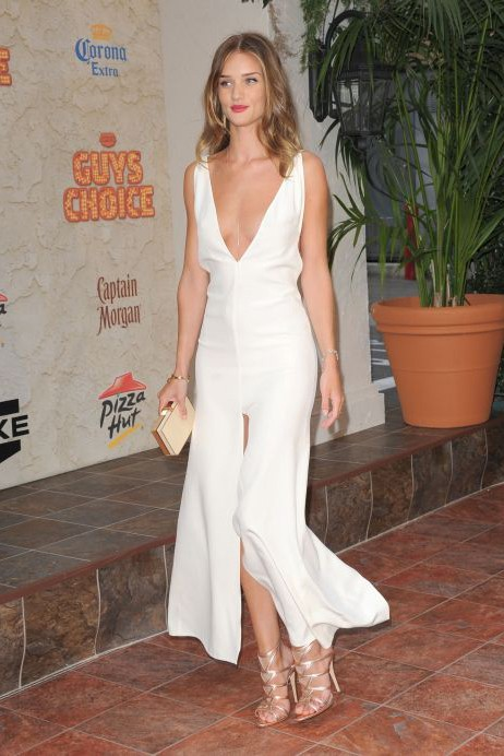 Rosie Huntington Whiteley White Evening Formal Gown Spike