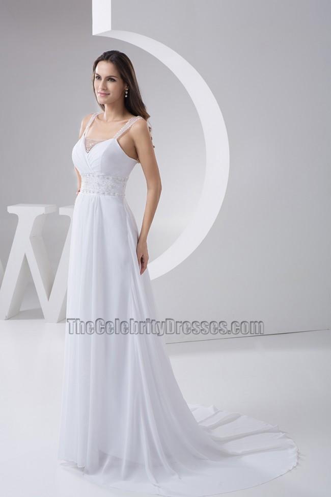 Celebrity Wedding Dress Inspiration : Celebrity inspired a line chiffon wedding dress with beadwork
