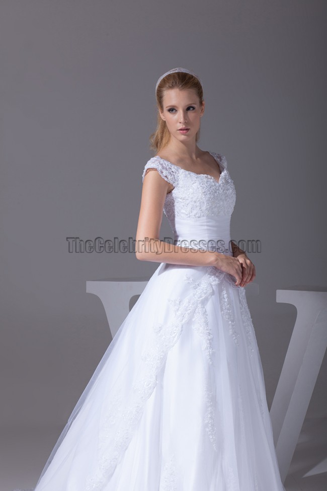 Celebrity Inspired A Line Cap Sleeve Lace Wedding Dresses