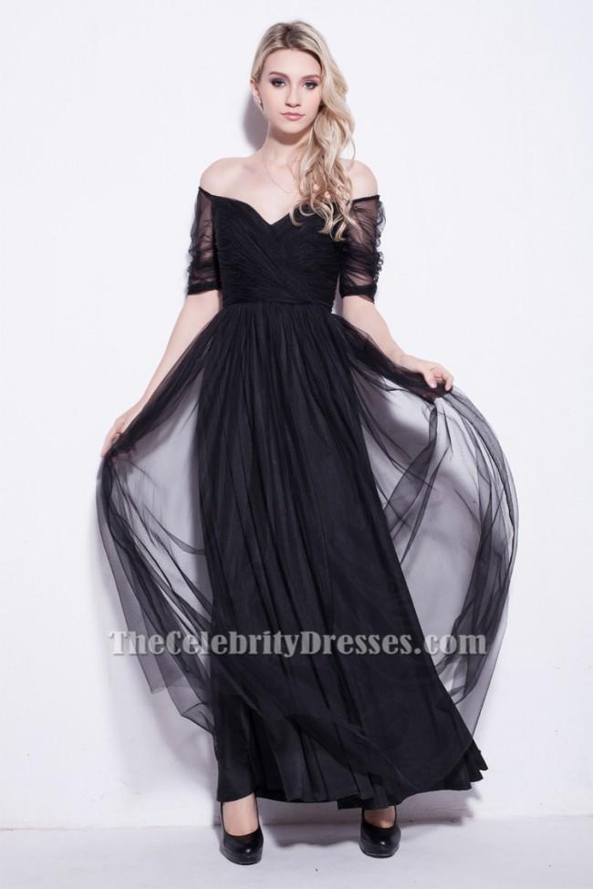 Celebrity Inspired Black Off The Shoulder Evening Prom Dresses