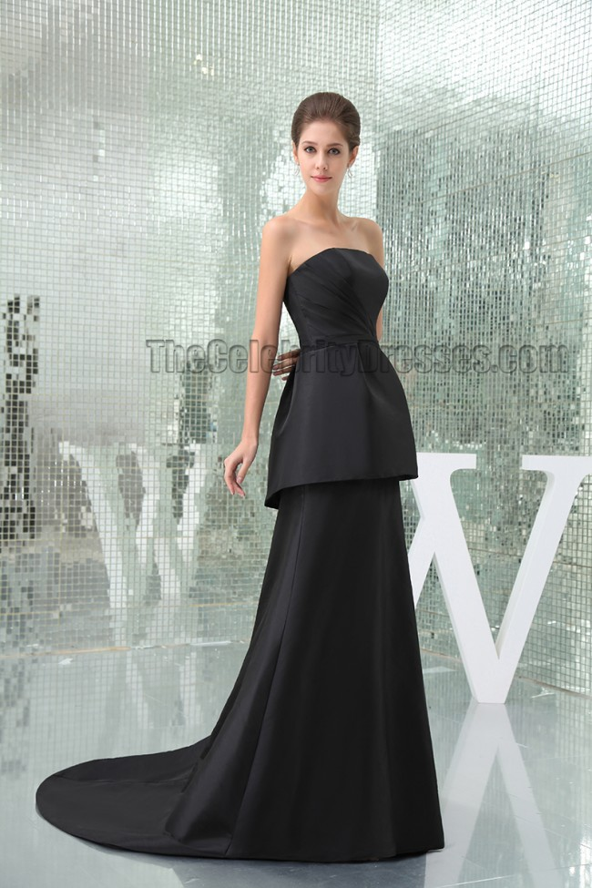 Celebrity Inspired Black Strapless Formal Dress Prom