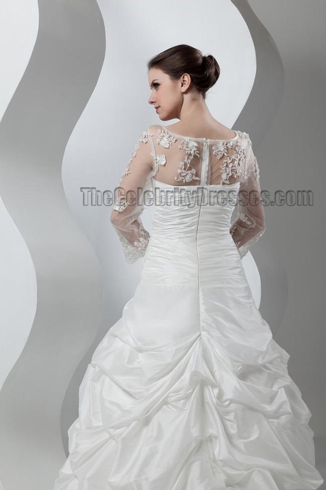 Celebrity Inspired Long Sleeve A Line Wedding Dresses