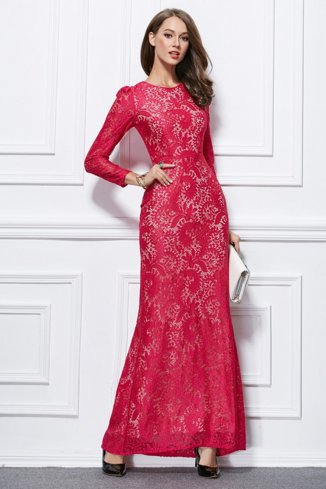 Celebrity Inspired Long Sleeve Lace Formal Dress Evening ...