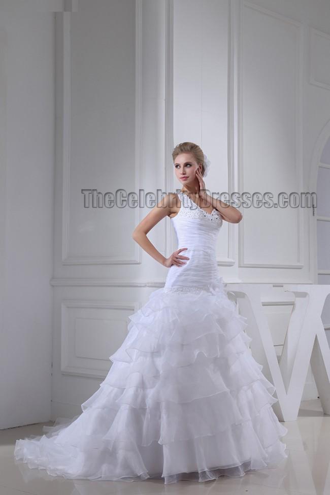 Celebrity Wedding Dress Inspiration : Celebrity inspired one shoulder beaded a line wedding dress