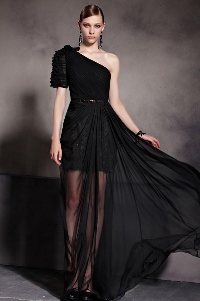 Celebrity Inspired One Shoulder Black Prom Gown Evening