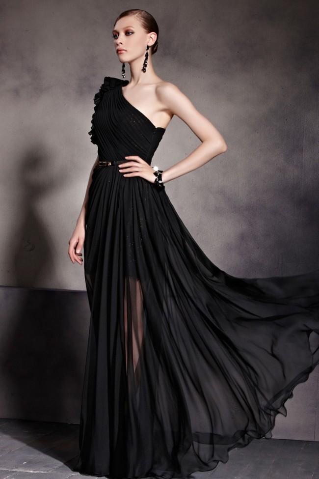 Celebrity Inspired One Shoulder Black Prom Gown Evening ...One Shoulder Black Prom Dresses
