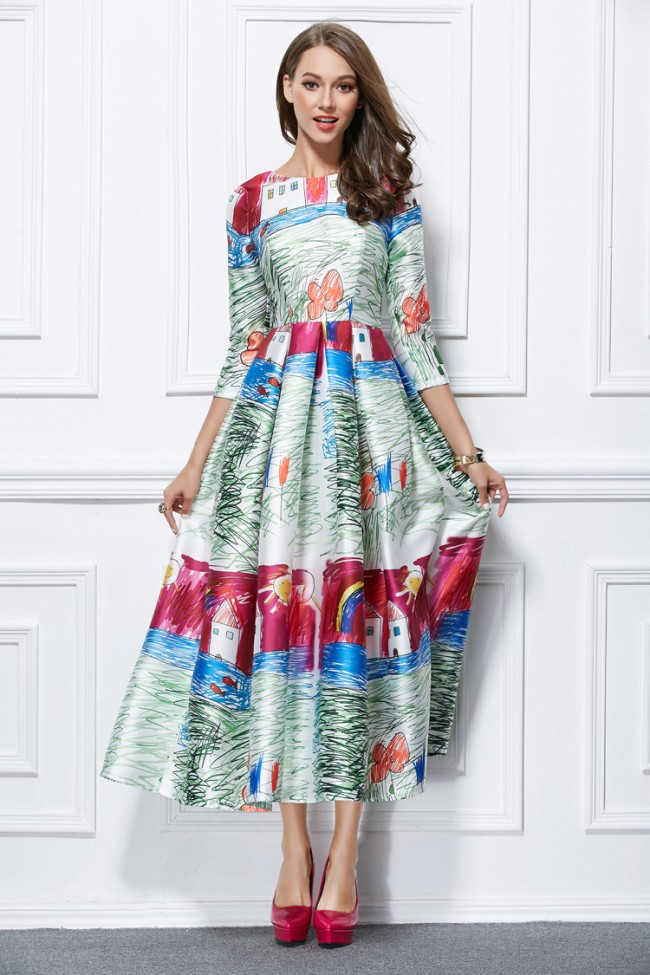 Celebrity Inspired Print A-Line Long Sleeves Prom Party ...