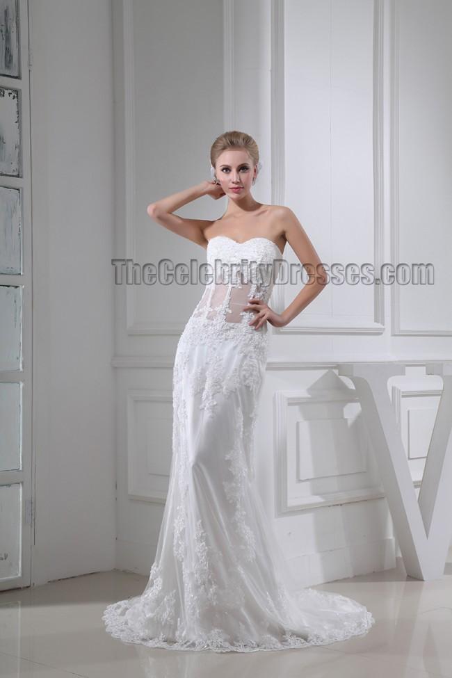 Celebrity inspired sheath column lace sweetheart wedding for Free wedding dress catalog