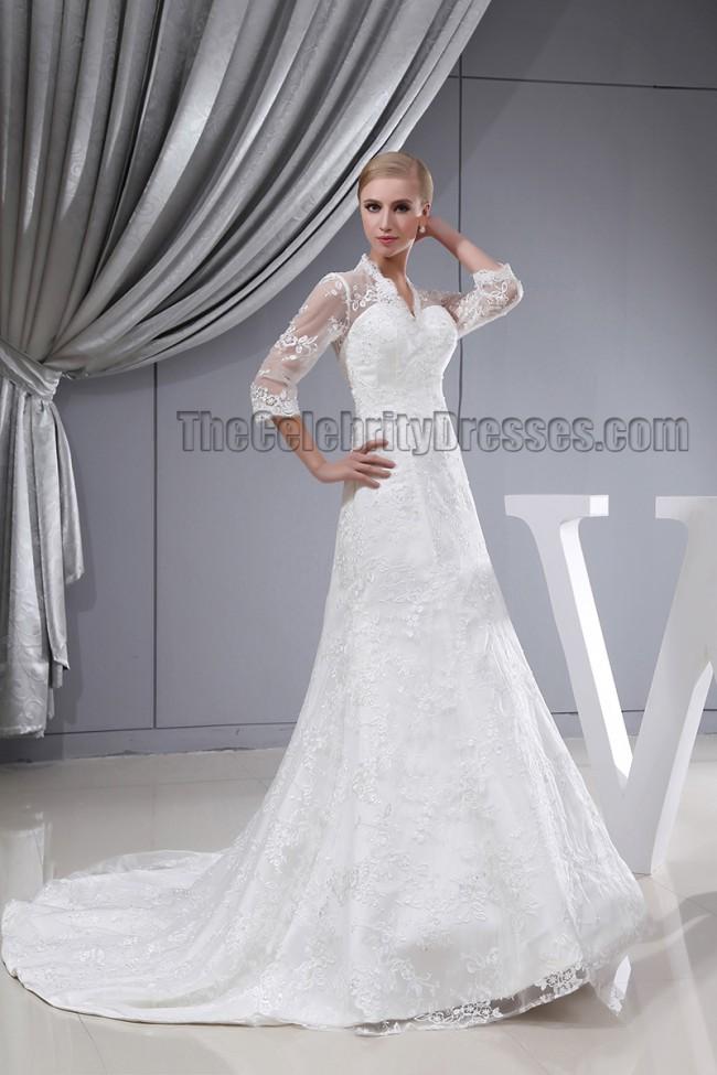 Celebrity Wedding Dress Inspiration : Home wedding celebrity dresses inspired v neck lace