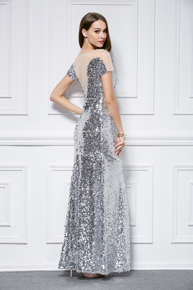 Celebrity Inspired Silver Sequins Short Sleeve Evening Dress ...
