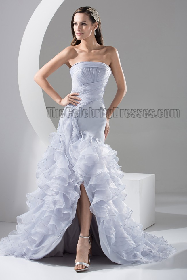 Celebrity Wedding Dress Inspiration : Celebrity inspired strapless trumpet mermaid organza wedding dress