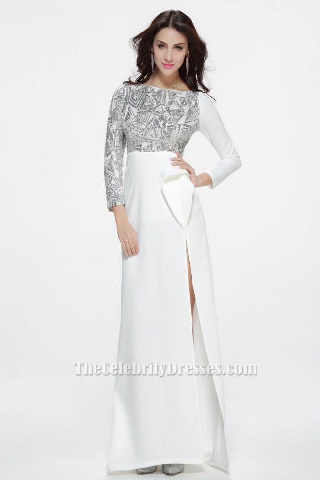 Celebrity Inspired White Long Sleeve Formal Dress Evening ...