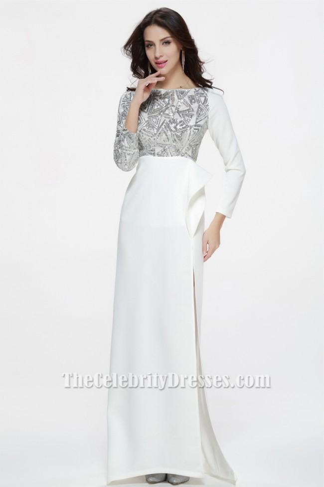 celebrity inspired white long sleeve formal dress evening