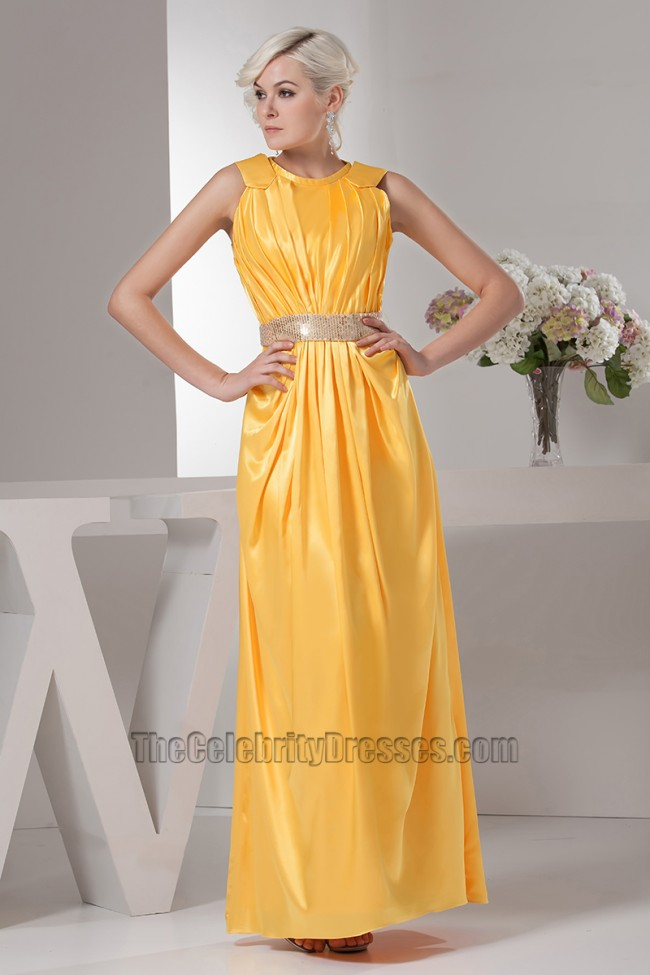 Celebrity Inspired Yellow Prom Gown Evening Formal Dresses