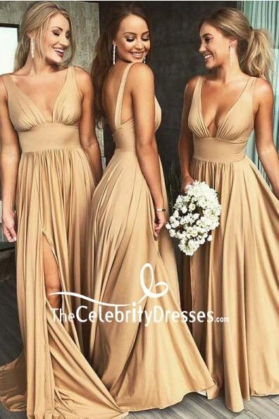 Champagne Deep V Neck Satin Bridesmaid Dress For