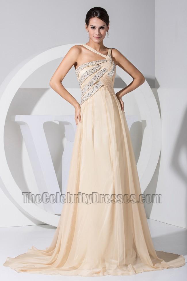 Chic Champagne Chiffon A-Line Prom Dress Evening Dresses ...