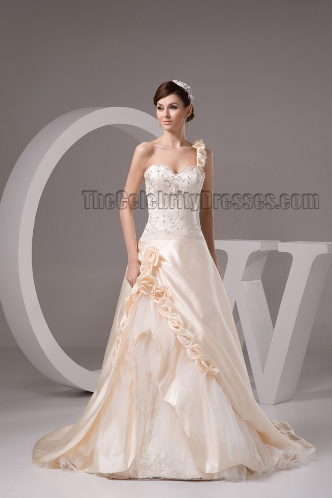 Champagne Wedding Dresses A Line : Champagne one shoulder a line embroidered beaded wedding