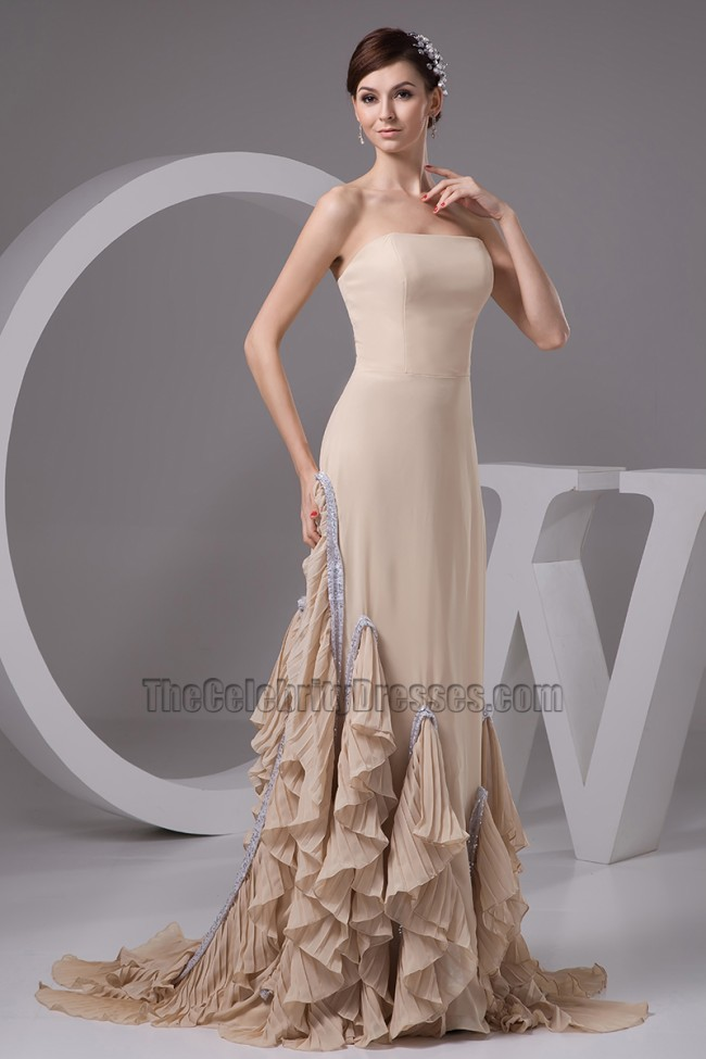 Champagne Strapless A Line Formal Gown Prom Evening Dresses