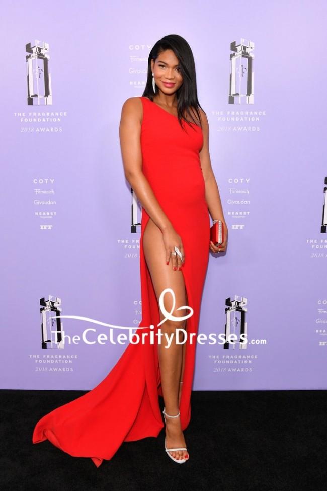 Chanel Iman Red One Shoulder Evening Formal Dress 2018 Fragrance