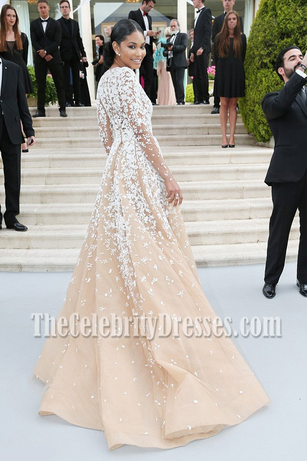 Chanel Iman Deep V Neck Long Sleeves Formal Ball Gown Cannes Amfar