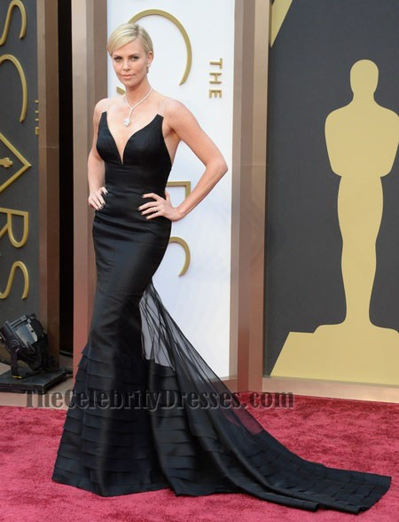 Charlize Theron Black Mermaid Formal Dress Oscars 2014 Red ...