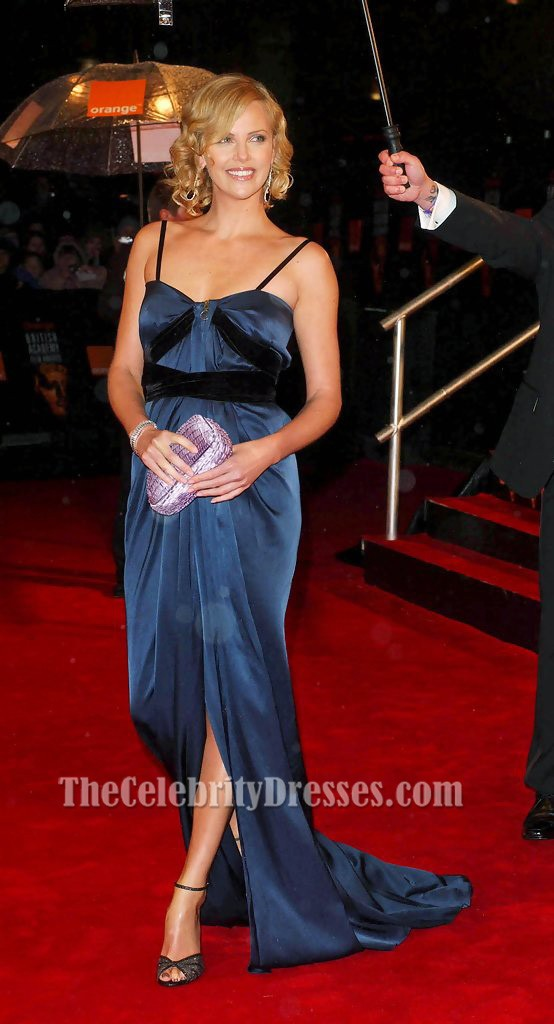 Charlize Theron Classic Blue Evening Dress 2006 Bafta Red