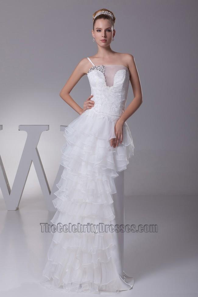 Chic asymmetric one strap floor length wedding dress for Wedding dresses one strap