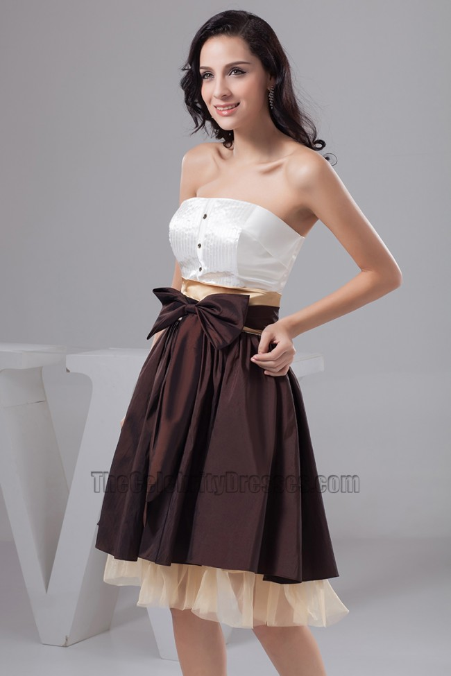 Chic Color Block Strapless A-Line Graduation Party Dresses ...