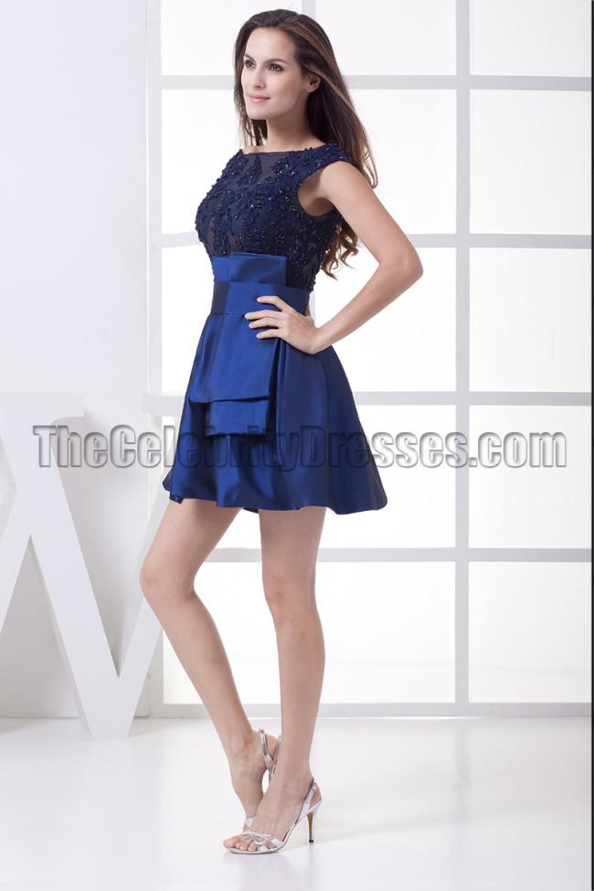 Chic Dark Royal Blue Short Mini Homecoming Party Dresses ...