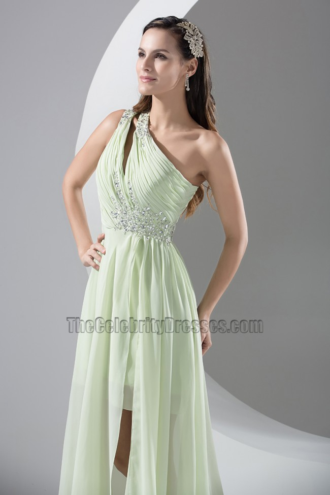 Sage One Shoulder Chiffon High Low Prom Dress Evening Gown