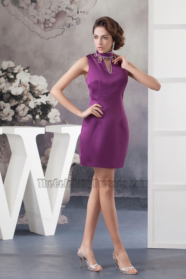 f523e6b2106 Chic Short Purple High Neck Party Homecoming Dresses - TheCelebrityDresses