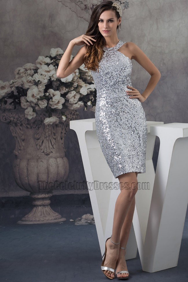 Chic Silver Sequins Short Cocktail Party Graduation