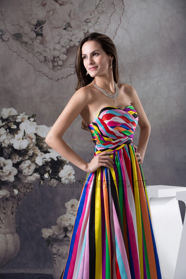 Chic Strapless A Line Color Block Formal Dress Evening