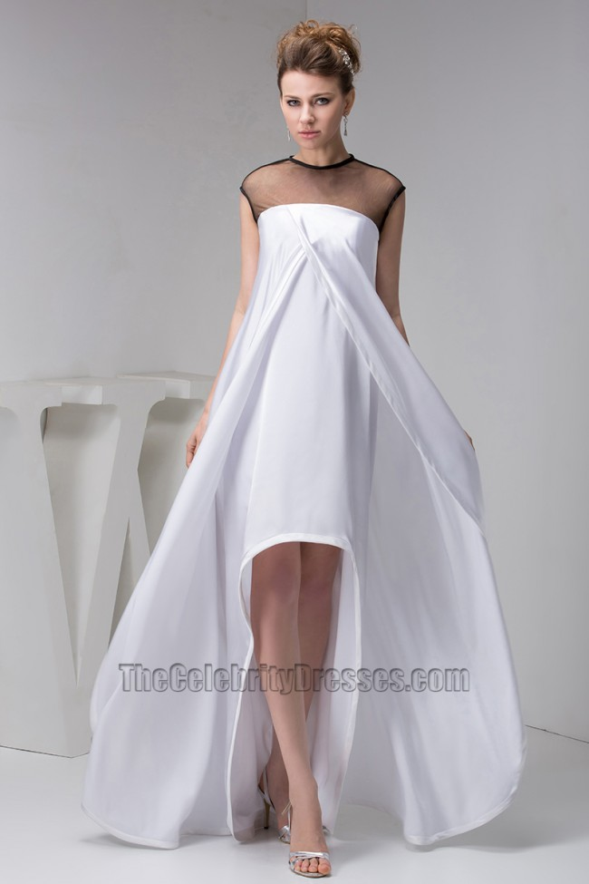 Chic White And Black High Low Prom Gown Evening Dresses