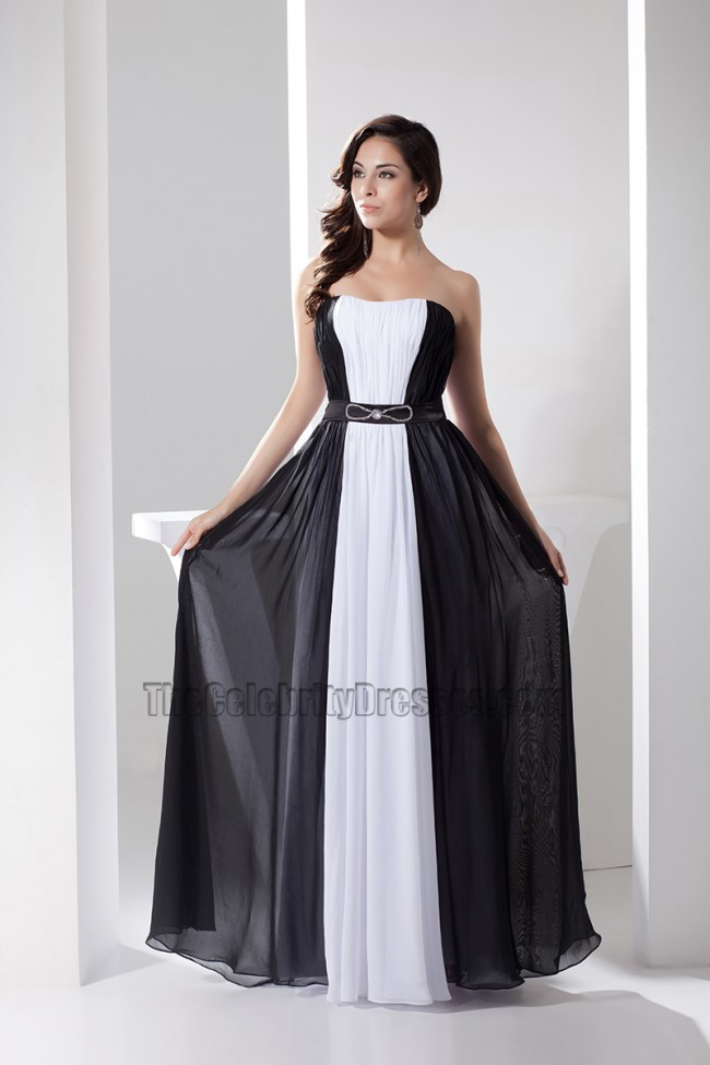 White And Black Strapless Prom Gown Evening Formal Dresses