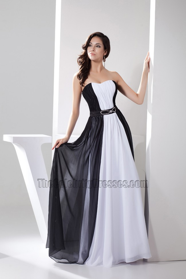 White And Black Strapless Prom Gown Evening Formal Dresses ...
