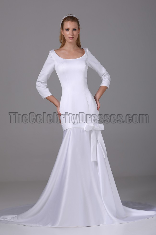 Chic White Long Sleeve Mermaid Wedding Dress Bridal Gown