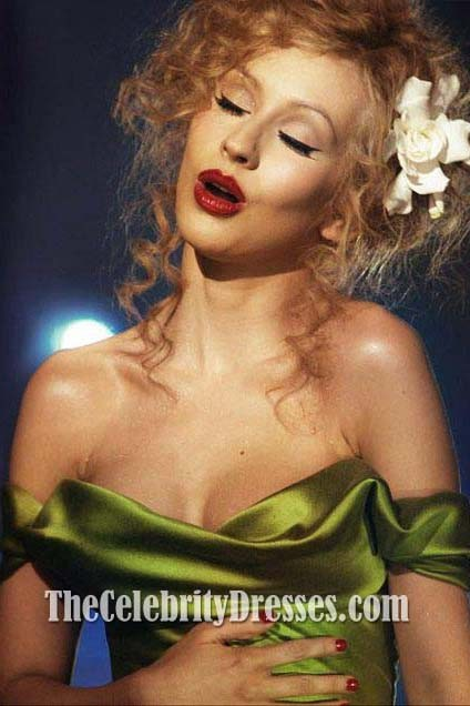 Christina Aguilera Sexy Green Off-the-shoulder Prom Dress in ...